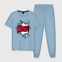 Пижама хлопковая мужская Надпись WOW! цвета мягкое небо — фото 1
