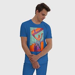 Пижама хлопковая мужская Советский строитель цвета синий — фото 2