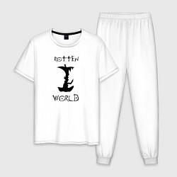 Пижама хлопковая мужская Death Note цвета белый — фото 1
