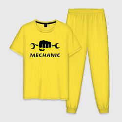 Пижама хлопковая мужская Механик цвета желтый — фото 1