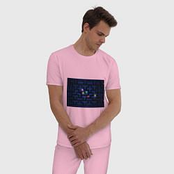 Пижама хлопковая мужская Pacman цвета светло-розовый — фото 2