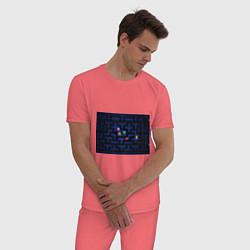Пижама хлопковая мужская Pacman цвета коралловый — фото 2