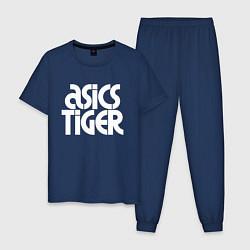 Пижама хлопковая мужская ASICS TIGER цвета тёмно-синий — фото 1