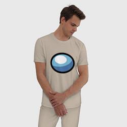 Пижама хлопковая мужская AMONG US цвета миндальный — фото 2