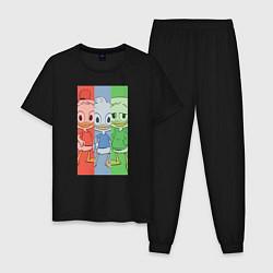 Пижама хлопковая мужская Вилли, Билли, Дилли цвета черный — фото 1