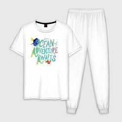 Пижама хлопковая мужская Ocean Adventuure Awaits цвета белый — фото 1