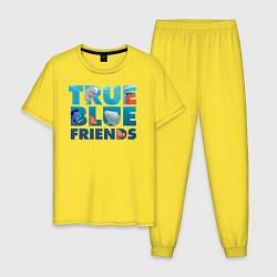 Пижама хлопковая мужская True Blue Friends цвета желтый — фото 1