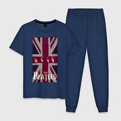 Пижама хлопковая мужская The Beatles rock-n-roll цвета тёмно-синий — фото 1