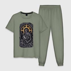 Пижама хлопковая мужская Dark Souls рыцарь душа пепла цвета авокадо — фото 1