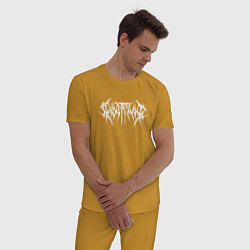 Пижама хлопковая мужская GHOSTEMANE НА СПИНЕ цвета горчичный — фото 2