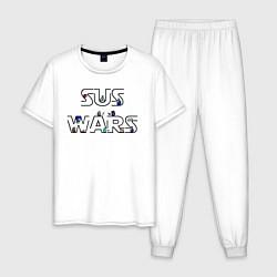 Пижама хлопковая мужская Among Us Sus Wars цвета белый — фото 1