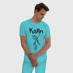 Пижама хлопковая мужская Korn цвета бирюзовый — фото 2