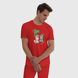 Пижама хлопковая мужская Забота цвета красный — фото 2