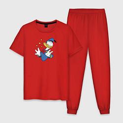 Пижама хлопковая мужская Счастье цвета красный — фото 1