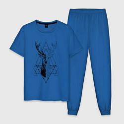 Пижама хлопковая мужская Polygonal deer цвета синий — фото 1