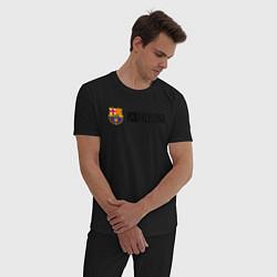 Пижама хлопковая мужская Barcelona FC цвета черный — фото 2