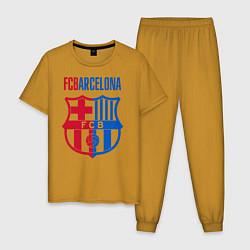 Пижама хлопковая мужская Barcelona FC цвета горчичный — фото 1