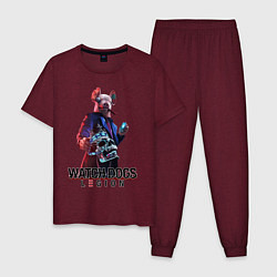 Пижама хлопковая мужская Watch Dogs Legion цвета меланж-бордовый — фото 1