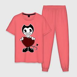 Пижама хлопковая мужская Bendy And The Ink Machine цвета коралловый — фото 1