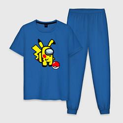 Пижама хлопковая мужская Among us Pikachu and Pokeball цвета синий — фото 1