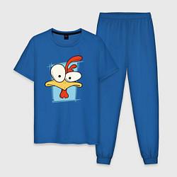 Пижама хлопковая мужская Птичка цвета синий — фото 1