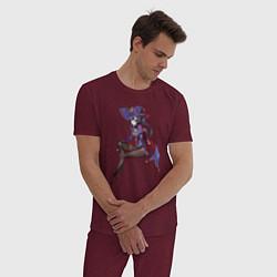 Пижама хлопковая мужская Mona - Genshin Impact цвета меланж-бордовый — фото 2