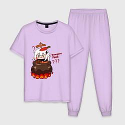 Пижама хлопковая мужская Genshin Impact Paimon food цвета лаванда — фото 1