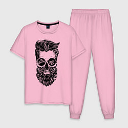 Пижама хлопковая мужская Хипстер цвета светло-розовый — фото 1