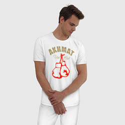 Пижама хлопковая мужская Akhmat Fight Club цвета белый — фото 2