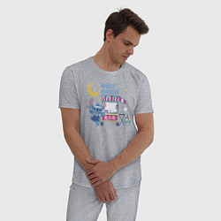 Пижама хлопковая мужская Стич цвета меланж — фото 2