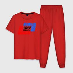 Пижама хлопковая мужская Союз MMA России цвета красный — фото 1