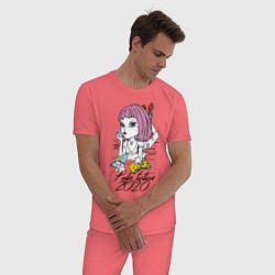 Пижама хлопковая мужская Криминальное чтиво 2020 цвета коралловый — фото 2
