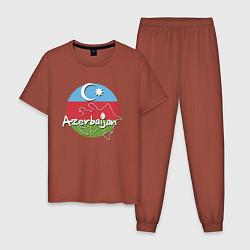 Пижама хлопковая мужская Азербайджан цвета кирпичный — фото 1