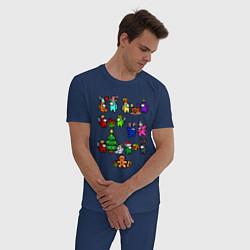 Пижама хлопковая мужская AMONG US НОВОГОДНИЙ цвета тёмно-синий — фото 2