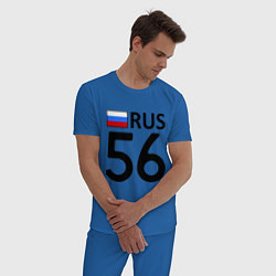 Пижама хлопковая мужская RUS 56 цвета синий — фото 2