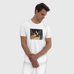 Пижама хлопковая мужская Белоснежка поёт цвета белый — фото 2