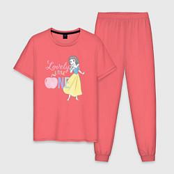 Пижама хлопковая мужская Белоснежка цвета коралловый — фото 1