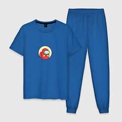 Пижама хлопковая мужская Shy among us цвета синий — фото 1