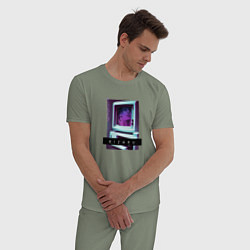 Пижама хлопковая мужская Vaporwave Kizaru Mac цвета авокадо — фото 2