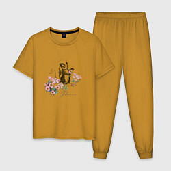 Пижама хлопковая мужская Flower цвета горчичный — фото 1