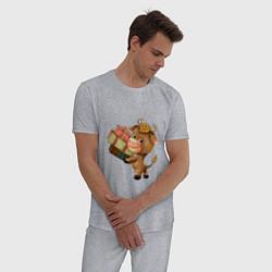 Пижама хлопковая мужская Символ года 2021 бык цвета меланж — фото 2