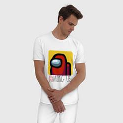 Пижама хлопковая мужская Among Us Z цвета белый — фото 2