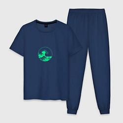 Пижама хлопковая мужская Большая волна неон цвета тёмно-синий — фото 1