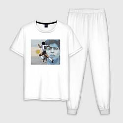 Пижама хлопковая мужская Марадона великий футболист цвета белый — фото 1