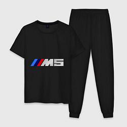 Пижама хлопковая мужская BMW M5 цвета черный — фото 1