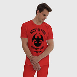 Пижама хлопковая мужская Iron never lies цвета красный — фото 2