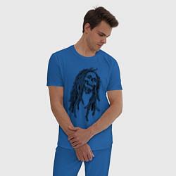 Пижама хлопковая мужская Боб Марли цвета синий — фото 2
