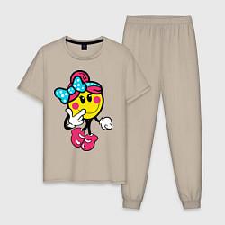 Пижама хлопковая мужская Девочка смайл цвета миндальный — фото 1