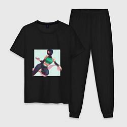 Пижама хлопковая мужская Отдыхающая Акали цвета черный — фото 1
