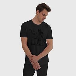 Пижама хлопковая мужская Зайки цвета черный — фото 2